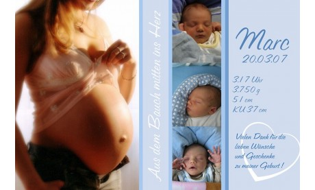 "Danksagung Geburt ""Babybauch"", Geburtskarte, 10x15 cm, hellblau"