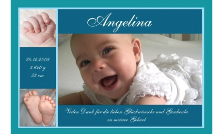 "Danksagung Geburt ""Angelina"", Geburtskarte, 10x15 cm, türkis"