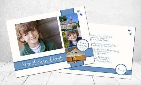 Danksagung Kommunion / Konfirmation, Postkarte 10x15 cm, braun hellblau