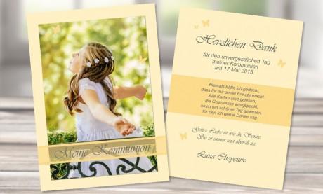 Danksagungskarte Konfirmation Kommunion, beige