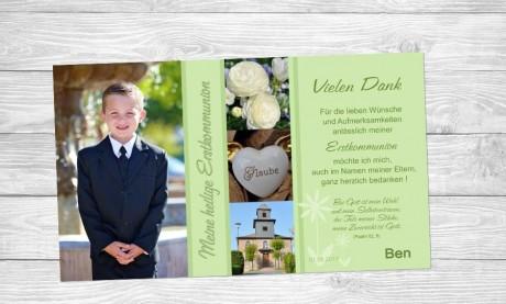 Danksagung Kommunion / Konfirmation, Fotokarte 10x18 cm, flieder
