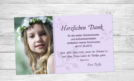Danksagung Kommunion / Konfirmation, Fotokarte 10x18 cm, grau