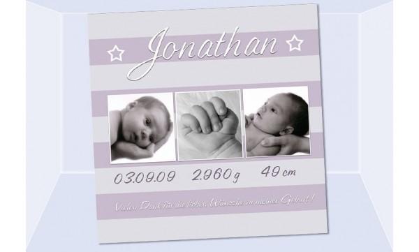 "Danksagung Geburt ""Jonathan"", Geburtskarte, 10x10 cm, lila"