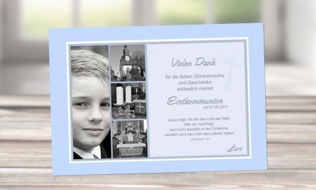 Danksagung Kommunion / Konfirmation, Fotokarte 10x15 cm, hellblau
