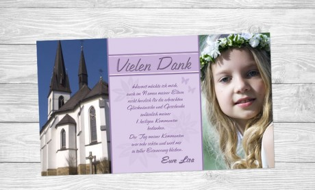 Danksagung Kommunion / Konfirmation, Fotokarte 10x18 cm, grün