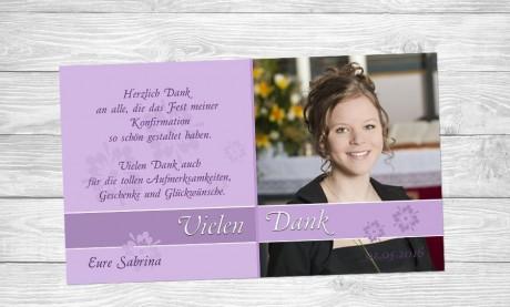 Danksagung Kommunion / Konfirmation, Fotokarte 10x18 cm, lila