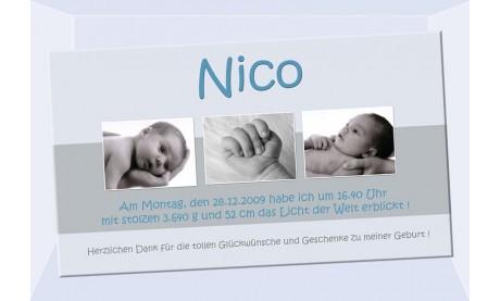 "Danksagung Geburt ""Nico"", Geburtskarte, 10x18 cm, taube"