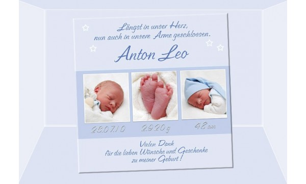 "Danksagung Geburt ""Anton Leo"", Geburtskarte, 10x10 cm, hellblau"
