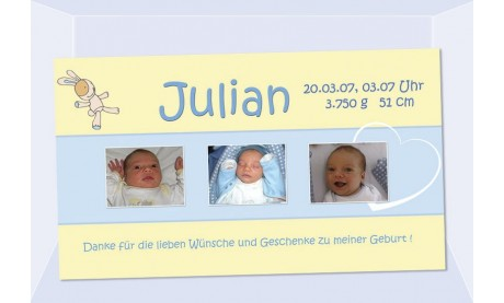 "Danksagung Geburt ""Julian"", Geburtskarte, 10x18 cm, gelb hellblau"