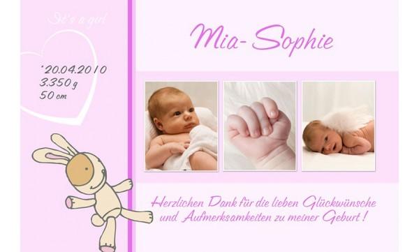 "Danksagung Geburt ""Mia Sophie"", Geburtskarte, 10x15 cm, rosa"