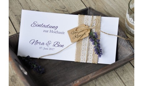 "Einladungskaten Hochzeit Vintage ""Lavendel"""