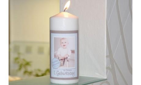 Wunderschöne Geburtstagskerze mit Foto, Kerze zum Kinder-Geburtstag
