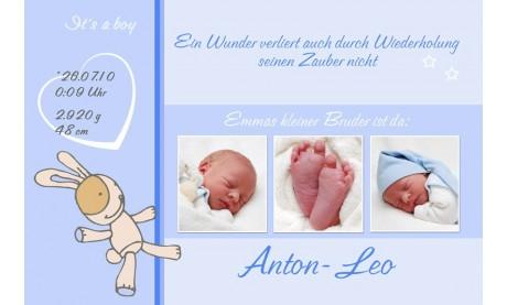 "Geburtsanzeige ""Anton Leo"", Karte Geburt, 10x15 cm, hellblau"
