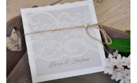 Einladungskarten Hochzeit Vintage Spitze