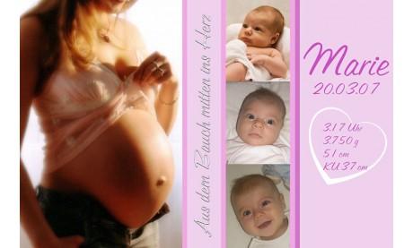 "Geburtsanzeige ""Marie"", Karte Geburt, 10x15 cm, rosa"
