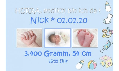 "Geburtsanzeige ""Nick"", Karte Geburt, 10x15 cm, hellblau"