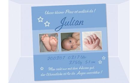 """Geburtsanzeige """"Julian"""", Karte Geburt, 10x10 cm, blau"""