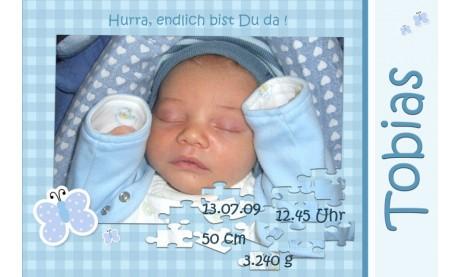 "Geburtsanzeige ""Tobias"", Karte Geburt, 10x15 cm, türkis"