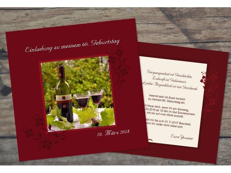 Einladungskarten Geburtstag Einladungskarten 60: Einladungskarten 60. Geburtstag Wein