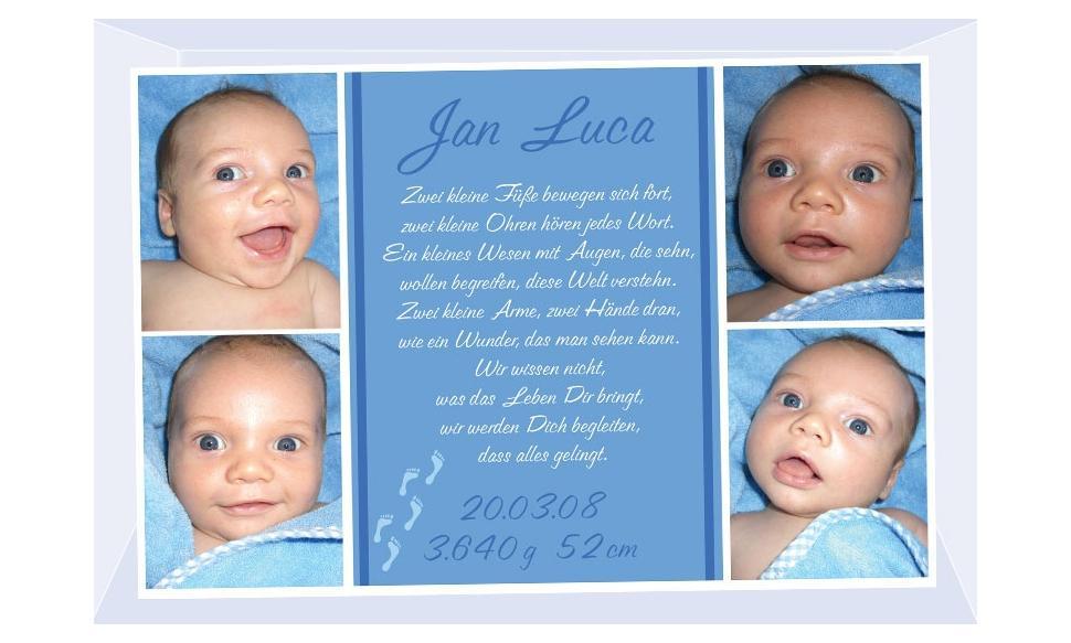 "Geburtsanzeige ""Jan Luca"", Karte Geburt, 10x15 cm, blau"