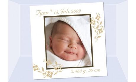 """Geburtsanzeige """"Fynn"""", Karte Geburt, 12,5x12,5 cm, weiß beige"""
