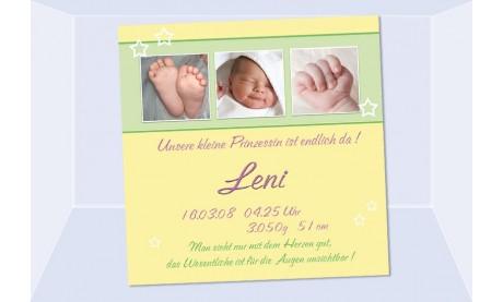 "Geburtsanzeige ""Leni"", Karte Geburt, 10x10 cm, gelb rosa"
