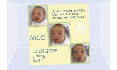 """Geburtsanzeige """"Nico"""", Karte Geburt, 10x10 cm, gelb"""