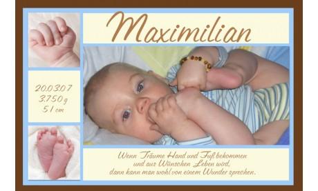 "Geburtsanzeige ""Maximilian"", Karte Geburt, 10x15 cm, braun hellblau"