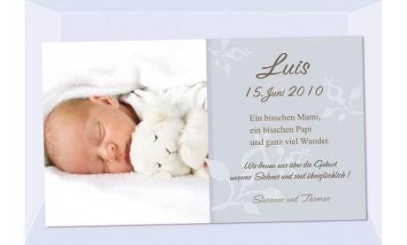 "Geburtsanzeige ""Luis"", Karte Geburt, 10x18 cm, grau"