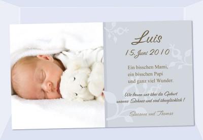 karte geburt text Geburtsanzeige, Karte Geburt, 10x18 cm, grau