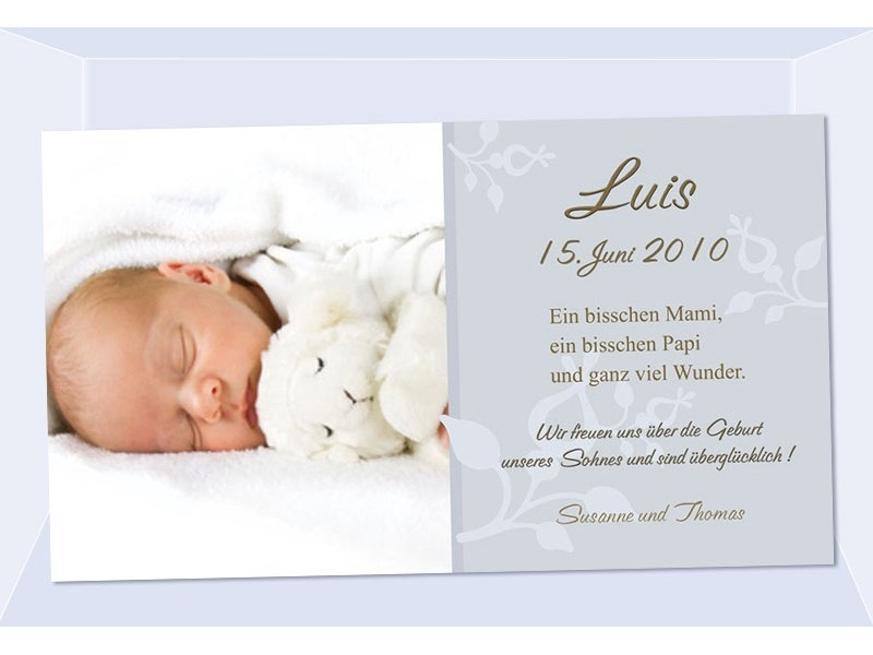Geburtsanzeige, Karte Geburt, 10x18 cm, grau