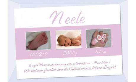 "Geburtsanzeige ""Neele"", Karte Geburt, 10x15 cm, rosa / hellblau"