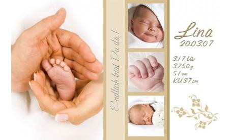 "Geburtsanzeige ""Lina"", Karte Geburt, 10x15 cm, creme weiß"
