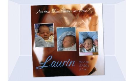 """Geburtsanzeige """"Laurin"""", Karte Geburt, 10x10 cm, Babybauch"""