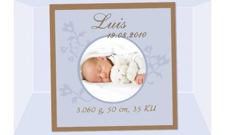 """Geburtsanzeige """"Luis"""", Karte Geburt, 12,5x12,5 cm, braun hellblau"""