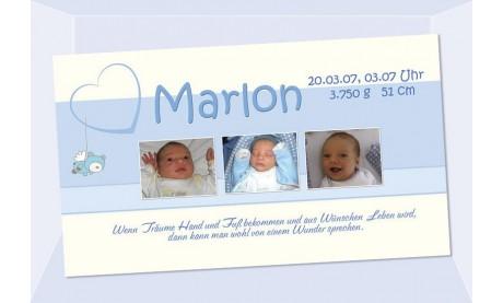 "Geburtsanzeige ""Marlon"", Karte Geburt, 10x18 cm, hellblau"