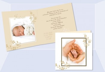 "Geburtsanzeige ""Jonas"", Klappkarte Geburt Quadrat, 4-seitig, beige"