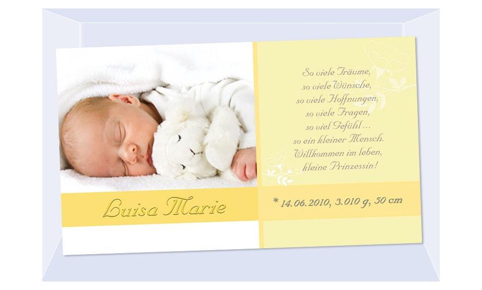 """Geburtsanzeige """"Luisa Marie"""", Karte Geburt, 10x18 cm, gelb"""