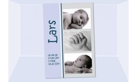 "Geburtsanzeige ""Lars"", Karte Geburt, 10x15 cm, hellblau"