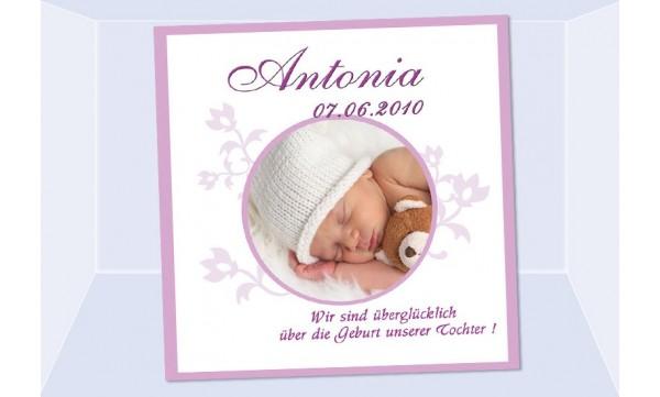 """Geburtsanzeige """"Antonia"""", Karte Geburt, 12,5x12,5 cm, weiß rosa"""