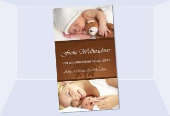 Fotokarte Weihnachten, Weihnachtskart, 10x18, braun