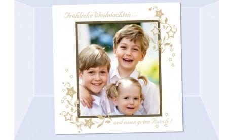 Fotokarte Weihnachten, Weihnachtskarte 12,5x12,5 cm, weiß