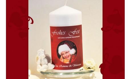 Wunderschöne Weihnachtskerze mit Foto, Kerze zu Weihnachten, rot