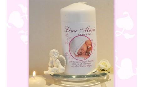 Taufkerze Baby mit Foto + Taufspruch, Fotogestaltung, rosa