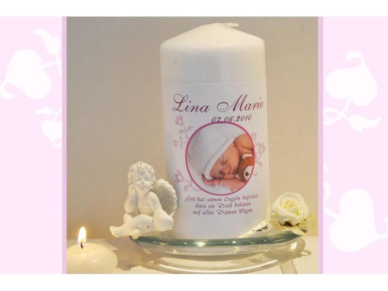 taufkerze f r ihr baby mit foto und taufspruch fotogestaltung rosa. Black Bedroom Furniture Sets. Home Design Ideas