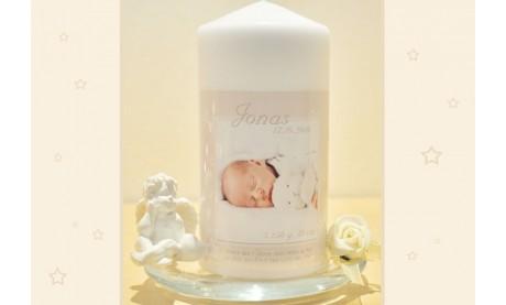 Geburtskerze, Kerze Geburt mit Foto + Taufspruch, creme