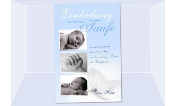 """Einladung Taufe """"Felix"""", Taufeinladung, Fotokarte 10x15 cm, hellblau"""