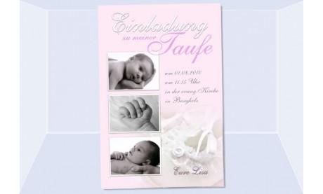 """Einladung Taufe """"Lisa"""", Taufeinladung, Fotokarte 10x15 cm, rosa"""