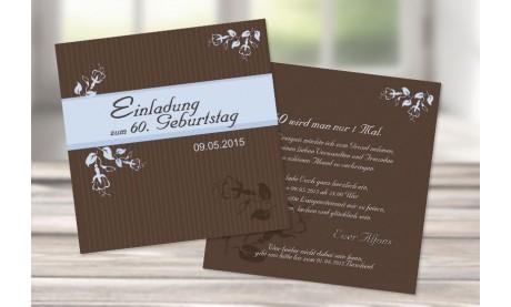 Einladungskarte 60. Geburtstag, zweiseitig, quadratisch, braun hellblau