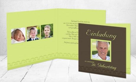 Einladung 50. Geburtstag, Klappkarte 12,5x12,5 cm, braun, grün